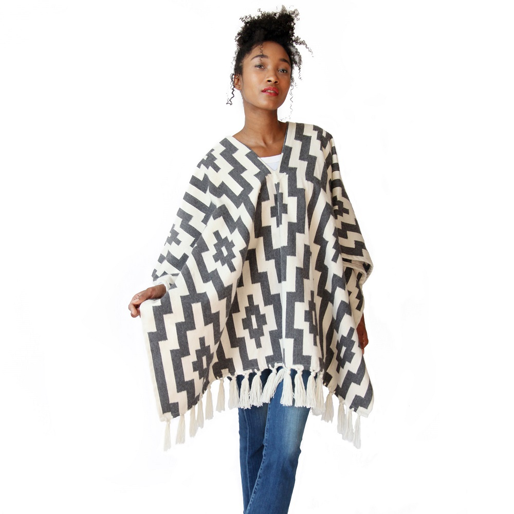 Stick & Ball poncho fringe collection